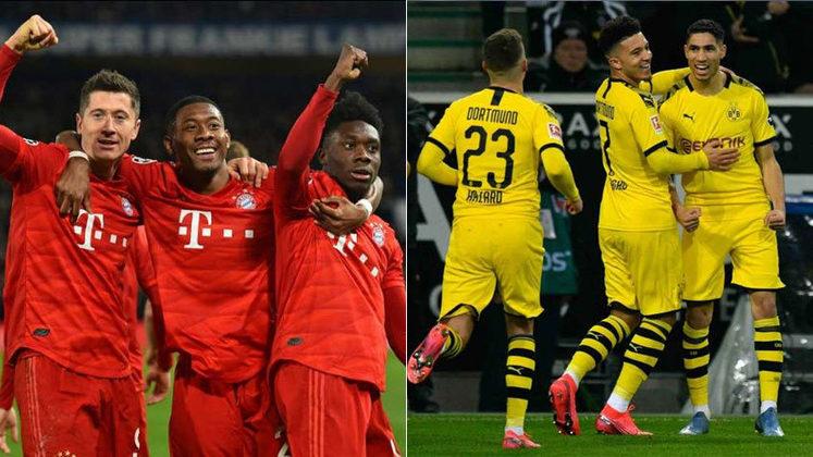 Na história, são 124 jogos entre as equipes, com 57 vitórias do Bayern, 34 empates e 33 vitórias do Dortmund. Os bávaros marcaram 235 gols e os aurinegros balançaram as redes 154 vezes.