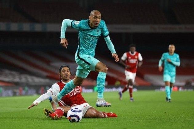 NA MÉDIA - Fabinho cresceu na partida contra o Arsenal e foi o motor da equipe com ótimos passes e muitos duelos vencidos na defesa