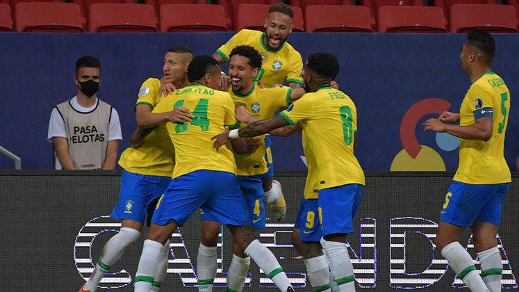 Na partida de abertura da Copa América 2021, o Brasil venceu a Venezuela por 3 a 0, com gols de Marquinhos, Neymar e Gabigol. Veja as notas do LANCE! para os jogadores da Seleção Brasileira. (feito por Rafael Marson - rafaelmunoz@lancenet.com.br)