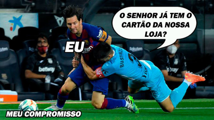 Na partida desta terça-feira entre Barcelona e Leganés, Unai Bustinza teve que apelar para parar Lionel Messi. O jogador espanhol agarrou o argentino pela cintura e a cena rendeu memes entre os torcedores