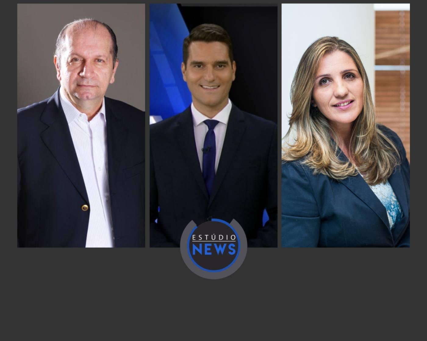 Nabil Sahyoun, Gustavo Toledo e Viviane Seda Bittencourt no Estúdio News