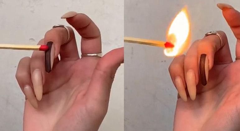 Influenciadora publicou vídeo na qual aparece acendendo um palito de fósforo nas unhas