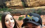 Hildebrando Batista, pai do youtuber, também publicou uma selfie com Maria Lina. Na imagem, eles aparecem em um dos pontos turísticos da cidade