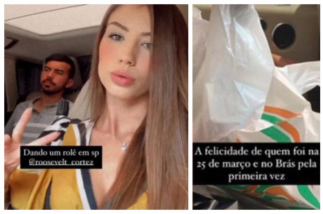 Maria mostrou sacola de compras após 'rolê' em SP
