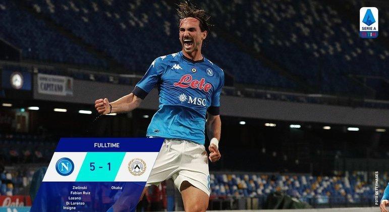 Placar final, Napoli 5 X 1 Udinese, e a vibração do excelente Fabian Ruiz