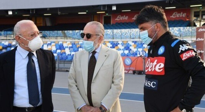 De Luca, De Laurentiis e Gattuso, antes do cotejo
