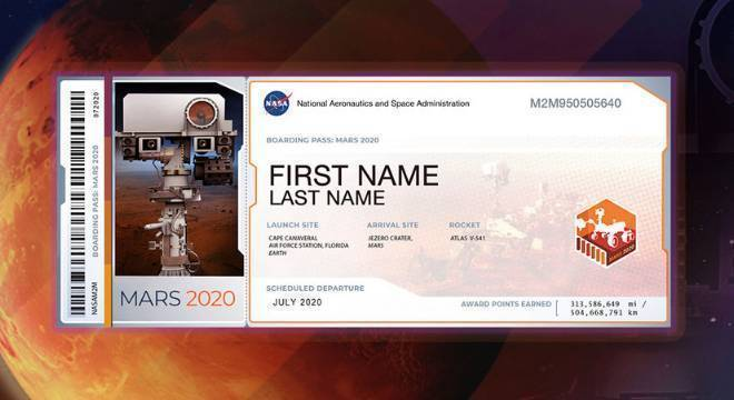 """""""Bilhete de embarque"""" para Marte"""