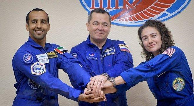 Os novos  membros da Estação Espacial Internacional