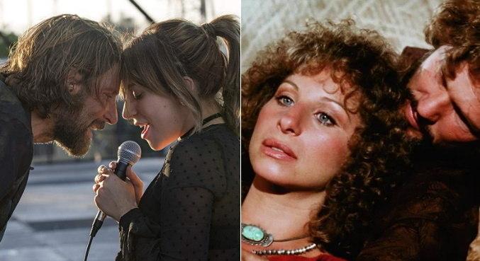 Lady Gaga e Bradley Cooper, em 2018, e Barbra e Kris Kristofferson, em 1976