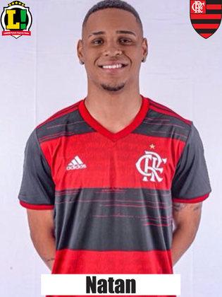 NATAN - 7,0 - O zagueiro vai mostrando que já é uma realidade dentro do elenco principal do Flamengo. Atuação segura na defesa que foi premiada com um gol - o primeiro de Natan no time profissional rubro-negro.