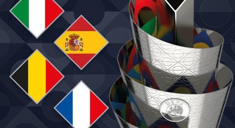 A taça da Nations League e os seus quatro finalistas, Itália, Espanha, Bélgica e França