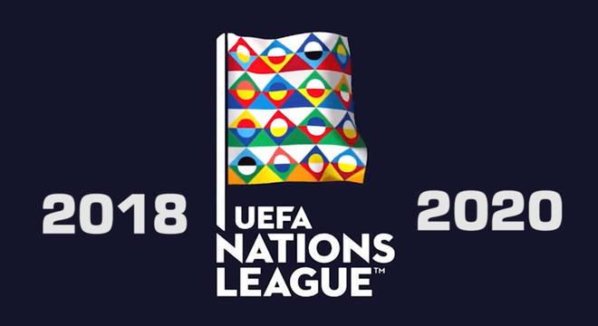 O logotipo da Nations League, que leva quatro seleções à Eurocopa