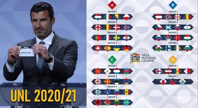 O ex-craque Luís Figo e as chaves das quatro séries da competição