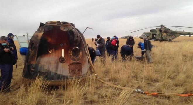 Nave Soyuz MS-16 aterrissou em segurança com três astronautas