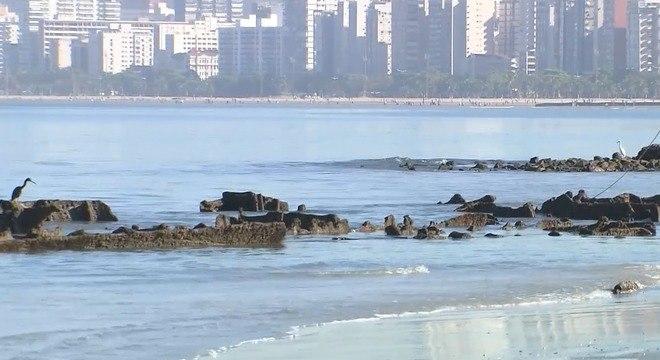 Destroços de navio que naufragou em Santos são vistos por banhistas