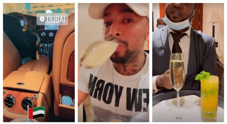 Músico foi recepcionado com carro de luxo e drinks na chegada ao hotel