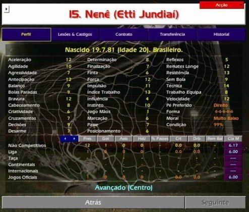 Nenê estava começando a carreira e defendia o  Etti Jundiaí (SP), atual Paulista FC.