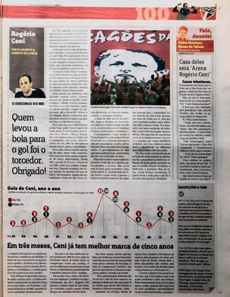 Nessa página, um texto exclusivo escrito por Rogério Ceni atendendo ao pedido do LANCE!. Encerrando uma cobertura para o são-paulino guardar na memória.