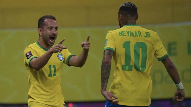 Nesta quinta-feira, o Brasil venceu o Peru por 2 a 0, na Arena Pernambuco. Com gols de Everton Ribeiro e Neymar, o Brasil completou oito jogos invictos e aumentou a liderança nas Eliminatórias da América do Sul para a Copa de 2022. Confira as notas do time a seguir. (Por Ana Daróz; anapereira@lancenet.com.br)
