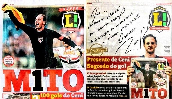 Nesta sexta-feira, 27 de março de 2020, faz exatamente nove anos que Rogério Ceni marcou seu centésimo gol na carreira, justamente em clássico contra o Corinthians, na Arena Barueri. Confira na galeria a seguir, como foi a cobertura da versão impressa do LANCE! naqueles dias: