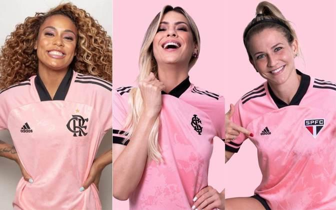 Flamengo, Internacional e São Paulo ganharam nesta terça-feira (13) camisas especiais. Os modelos fazem parte de campanha em apoio ao Outubro Rosa e parte da receita será revertida para o IBCC Oncologia (Instituto Brasileiro de Controle do Câncer). As camisas, que têm modelo feminino e masculino, serão vendidas a partir desta sexta-feira, por R$ 249,99. Veja imagens das camisas!