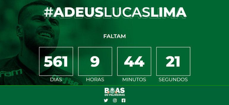 Neste mês de junho, a torcida do Palmeiras criou um site com a contagem regressiva para Lucas Lima deixar o clube. O cronômetro utilizado no site tem como base o tempo de contrato do atleta, que termina em dezembro de 2022