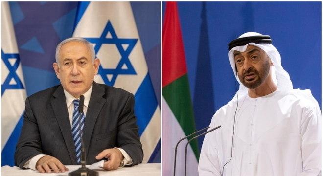 Premiê de Israel, Benjamin Netanyahu, e xeique Mohammed Bin Zayed, dos Emirados Árabes