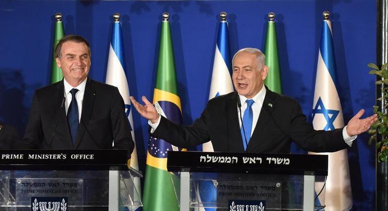 Bolsonaro e  Benjamin Netanyahu  durante a visita de Bolsonaro a Israel, em março de 2019