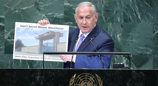 Na ONU, Benjamin Netanyahu afirmou que o Itã possui um 'armazém nuclear secreto'