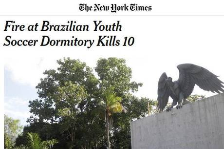 Manchete do New York Times sobre a tragédia