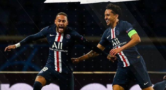 Neymar e Marquinhos, o primeiro gol de PSG 2 X 0 BVB