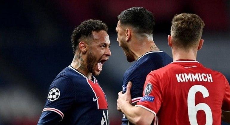 Neymar, do PSG, no jogo decisivo contra o Bayern,  terça-feira