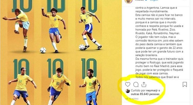 A crítica pesada de Rivaldo a Tite. Com o aval de seu jogador mais protegido
