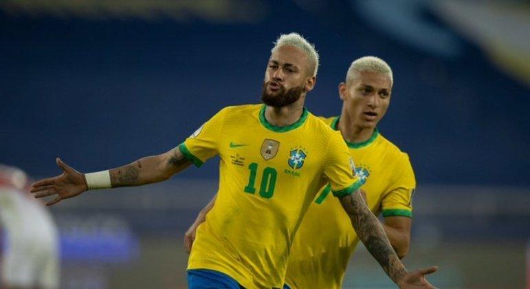 Neymar marcou o segundo gol do Brasil. E participou dos lances principais na goleada