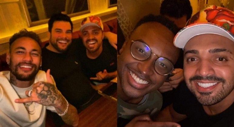 Neymar no jantar com seus amigos. Sem máscara ou distanciamento social