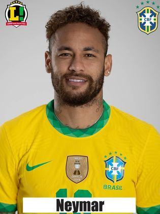 Neymar - 7,5 - Segurou demais a bola no ataque no primeiro tempo, e poderia ter tentado mais tabelas. Nas vezes em que tentou o passe, o Brasil levou mais perigo ao gol do Peru. Na etapa final, cresceu na partida, incomodou a defesa adversária, e marcou um belo gol. No gol de Richarlison, construiu a jogada com um belo passe na origem do lance.