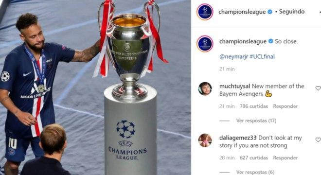 """Uefa publica foto de Neymar com legenda: """"Tão perto"""""""