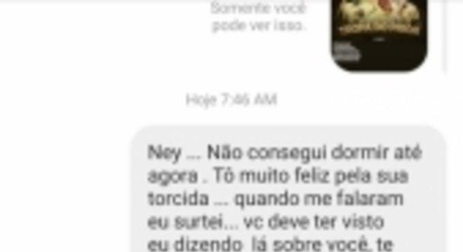 Neymar e Prior trocam mensagens