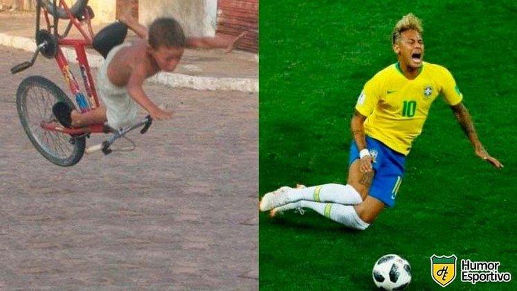 Neymar levava os primeiros tombos na vida.
