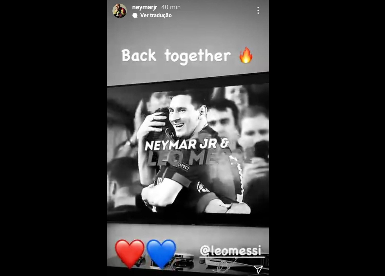 Neymar tratou de comemorar. Sonho realizado. Jogará com Messi novamente