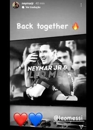 Neymar posta mensagem sobre chegada de Messi ao PSG