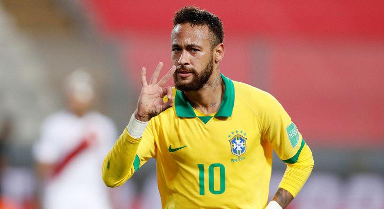 Na partida contra o Peru, em outubro de 2020, Neymar marcou três gols