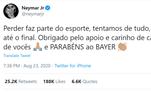 Neymar falou pela primeira vez depois da derrota do Paris Saint-Germain para o Bayern de Munique, na final da Champions. No Twitter ele lamentou e diz que derrotas fazem parte do esporte. Mas, escreveu o nome do rival erradoLeia também:UEFA publica foto de Neymar tocando taça após jogo: 'Tão perto'