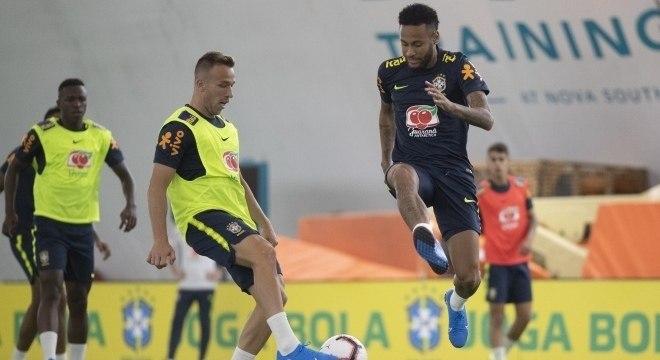 Neymar no treino da seleção em Miami, Estados Unidos