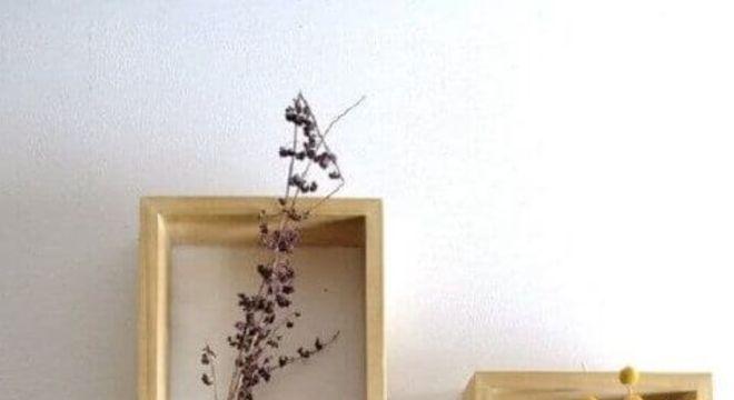 nichos de madeira com vasos de plantas simples