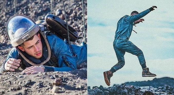 No Instagram, Nick Jonas mostrou foto de bastidores do clipe de 'Spaceman'