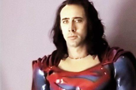 Cage fazendo teste de câmera como Superman