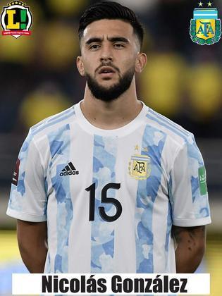 Nicolas González - 5,0 - Entrou na reta final, mas a Argentina já se encontrava numa postura defensiva. Pouco conseguiu colaborar ofensivamente.