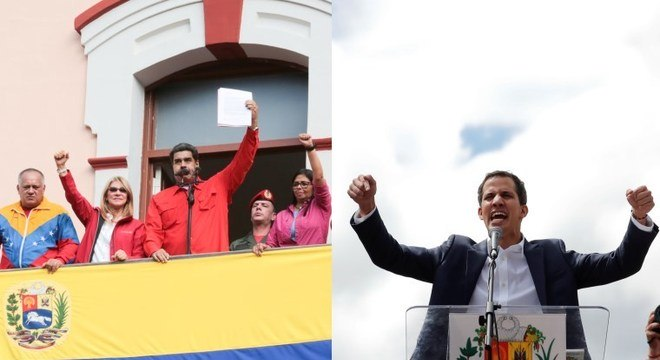 Maduro (e) defendeu sua permanência e Guaidó (d) se declarou presidente