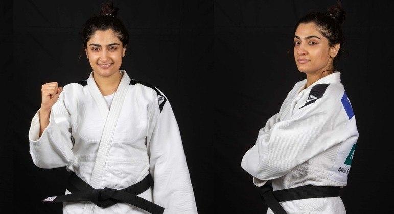 A judoca afegã Nigara Shaheen integra a equipe de atletas refugiados do COI